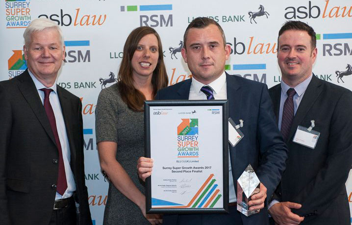 Blu-3 - runners up - Surrey Super Growth Awards